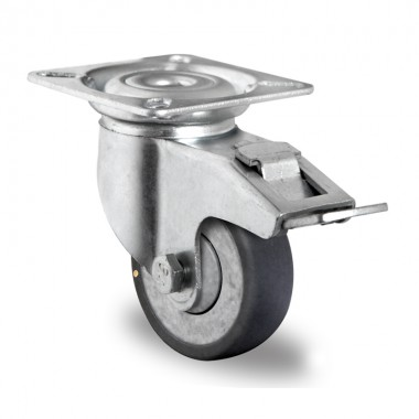 GREY INDUSTRIAL WHEEL OF 100MM WITH BRAKE