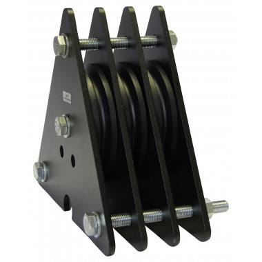 BLACK PULLEY OF 3 RAILS FOR DIAM. CABLE 5-6MM